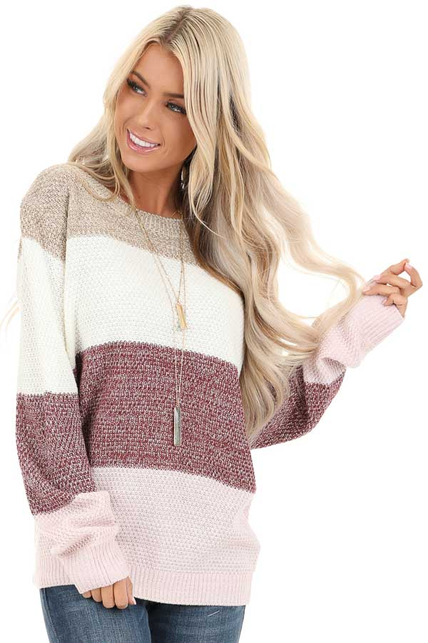 Mauve Multi Colored Striped Long Sleeve Knit Sweater front close up