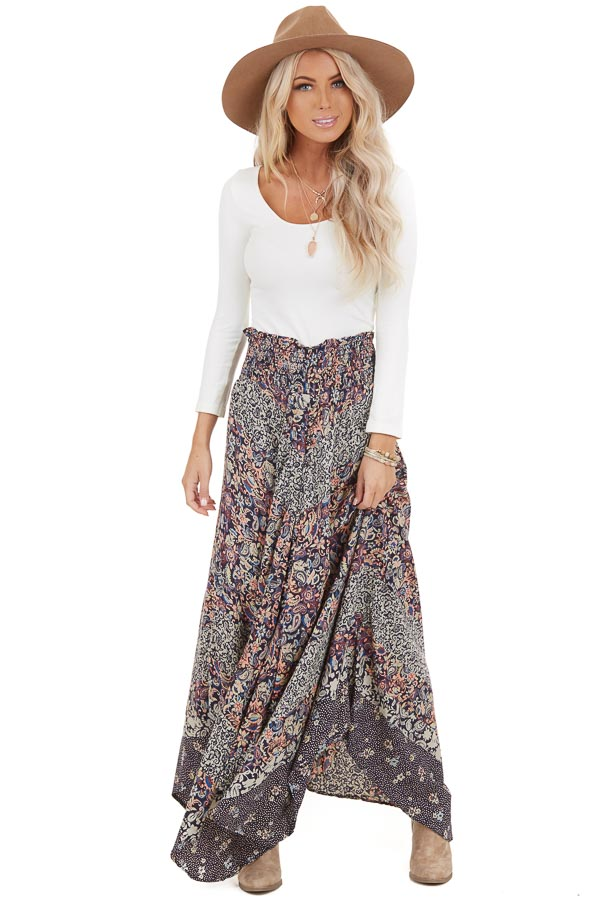 Navy Multi Print Smocked Button Up Maxi Skirt front full body