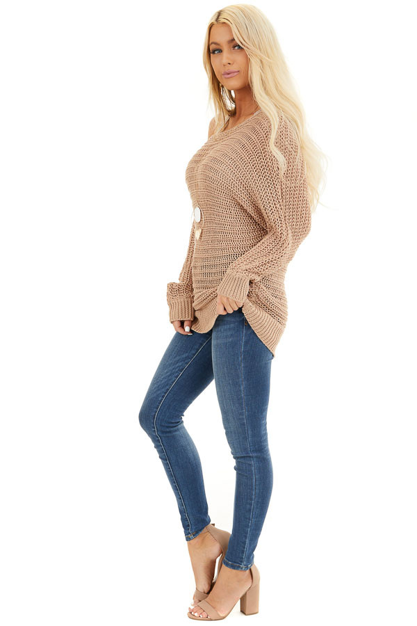 Taupe Off the Shoulder Long Sleeve Knit Sweater Top side full body