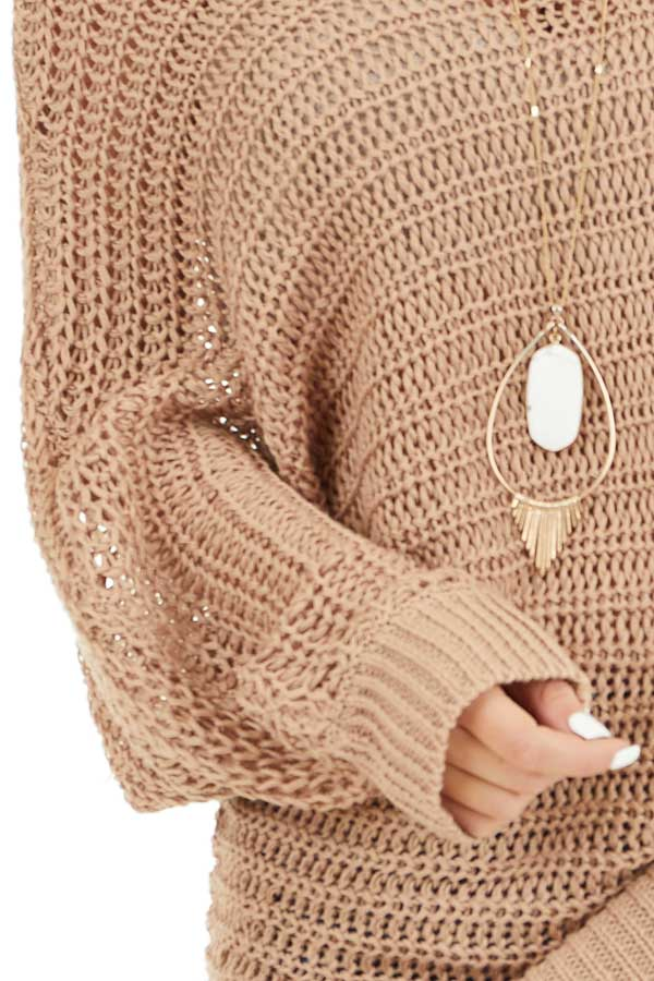 Taupe Off the Shoulder Long Sleeve Knit Sweater Top detail