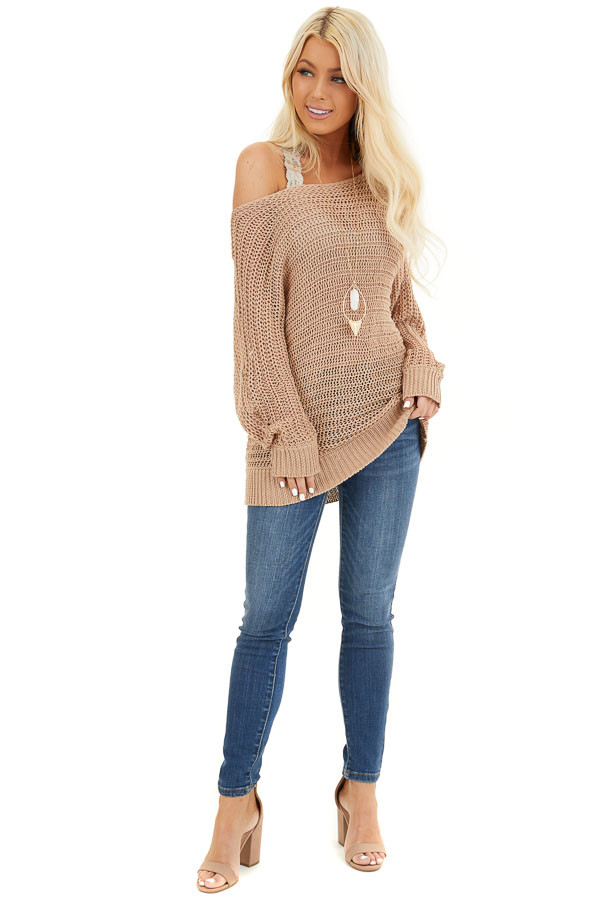 Taupe Off the Shoulder Long Sleeve Knit Sweater Top front full body