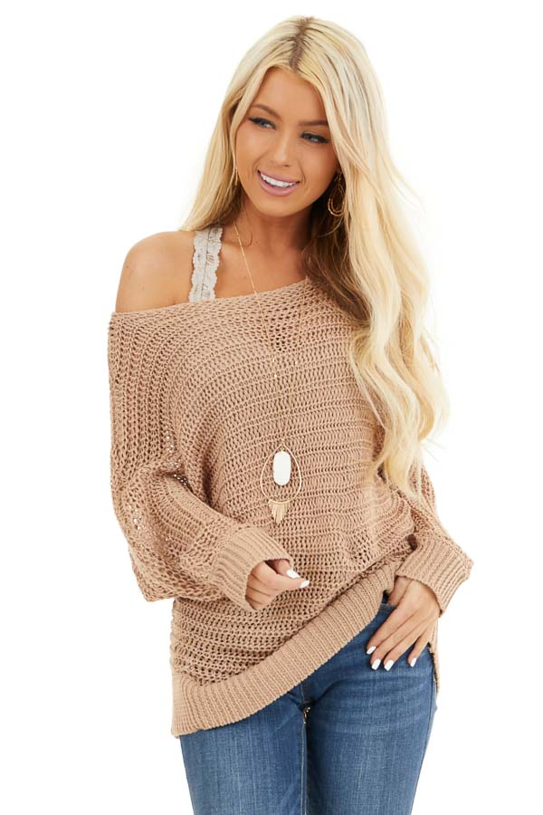 Taupe Off the Shoulder Long Sleeve Knit Sweater Top front close up