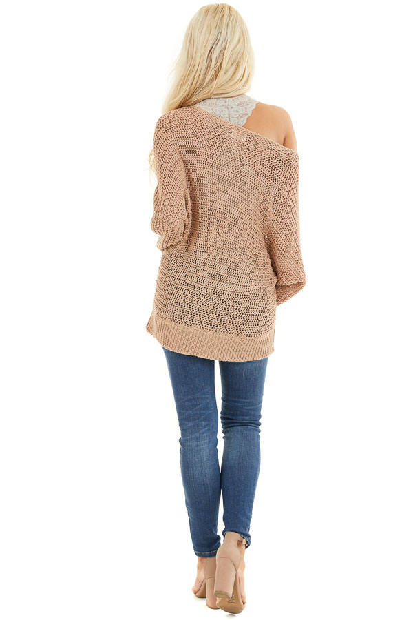 Taupe Off the Shoulder Long Sleeve Knit Sweater Top back full body