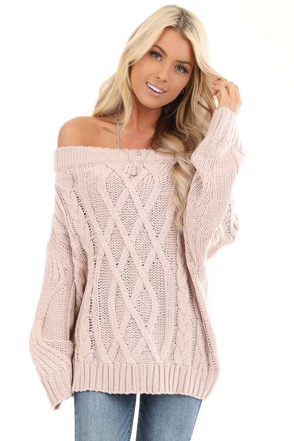 Blush Off the Shoulder Long Sleeve Cable Knit Sweater front close up