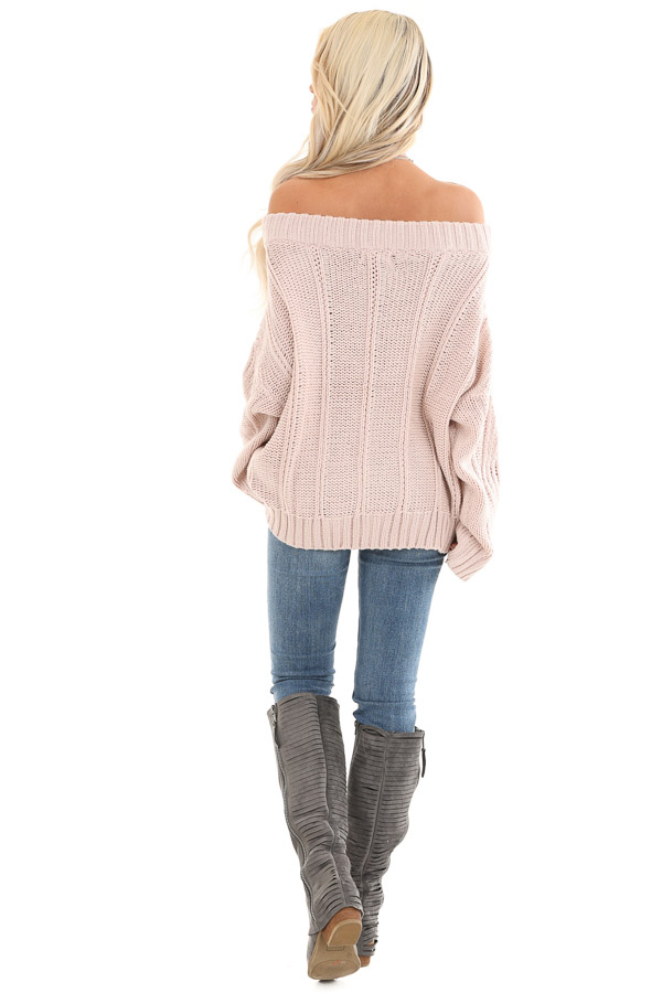 Blush Off the Shoulder Long Sleeve Cable Knit Sweater back full body