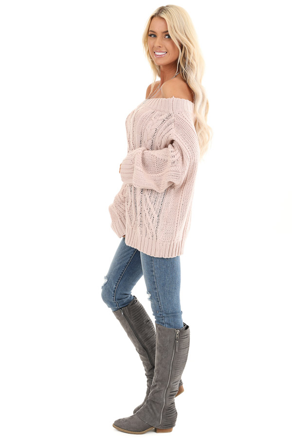 Blush Off the Shoulder Long Sleeve Cable Knit Sweater side full body