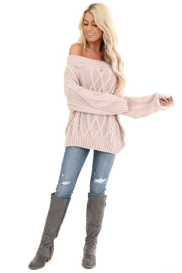 Blush Off the Shoulder Long Sleeve Cable Knit Sweater front full body