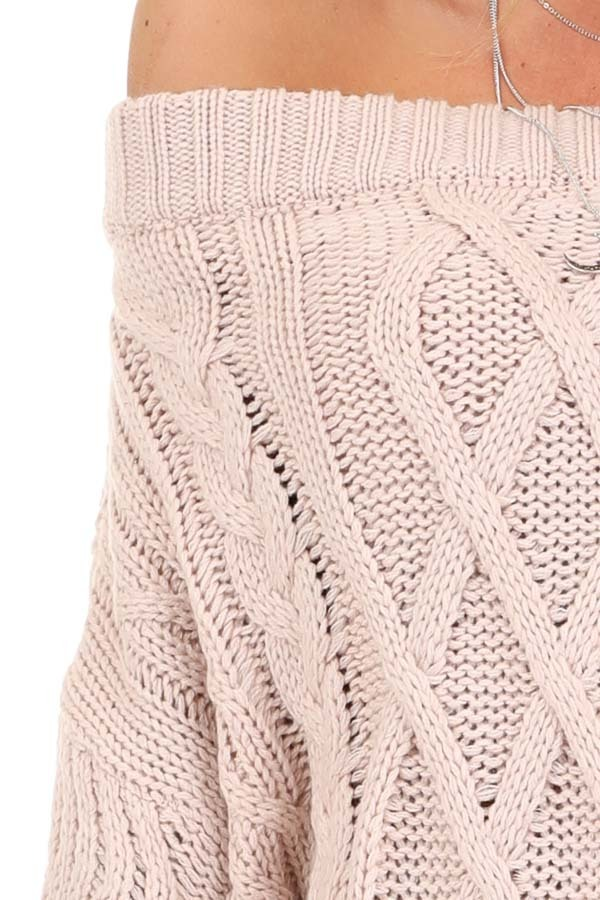 Blush Off the Shoulder Long Sleeve Cable Knit Sweater detail
