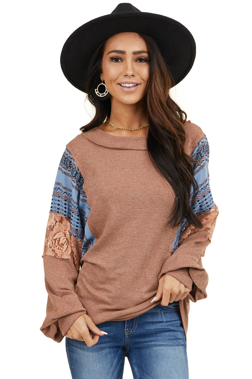 Hot Cocoa Ribbed Knit Top with Geometric and Lace Contrast