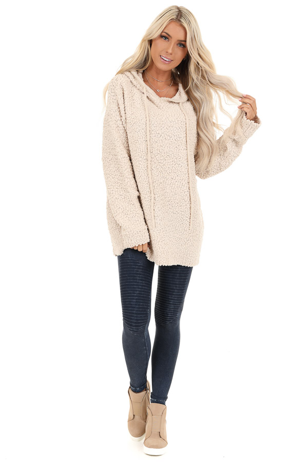 Taupe Popcorn Pullover Hoodie Sweater with Drawstrings front full body
