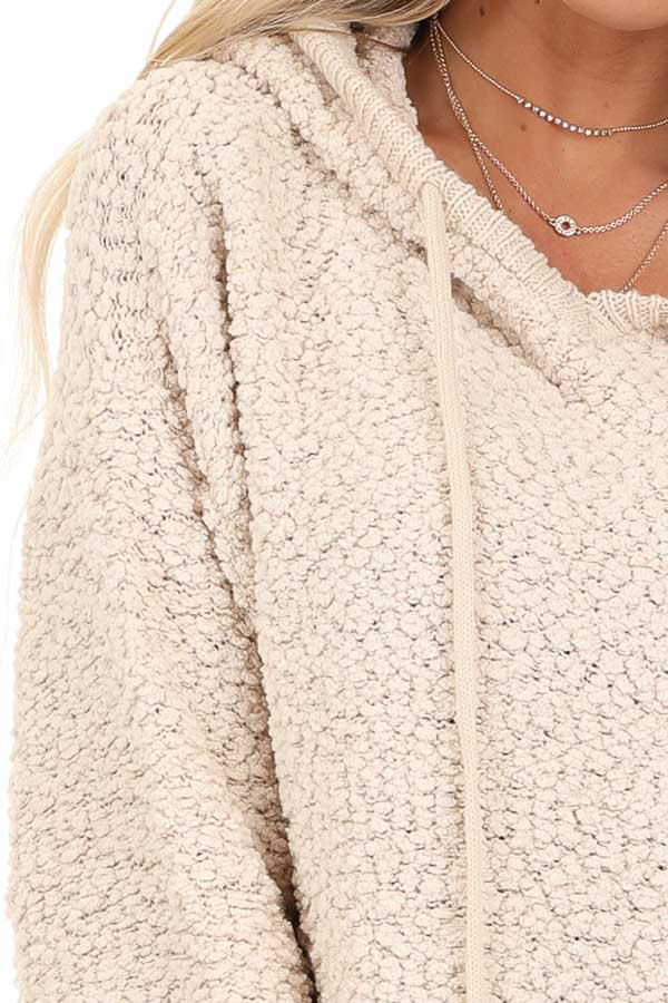 Taupe Popcorn Pullover Hoodie Sweater with Drawstrings detail