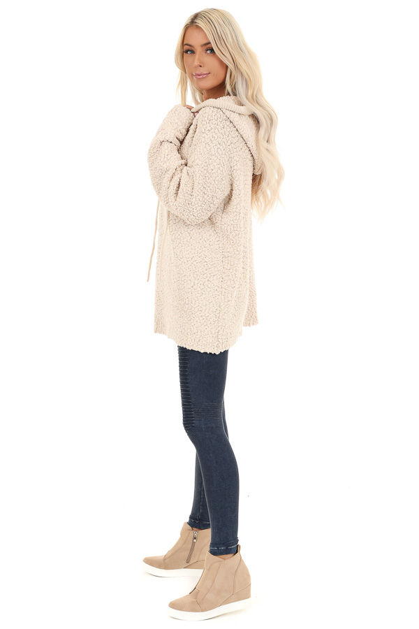 Taupe Popcorn Pullover Hoodie Sweater with Drawstrings side full body