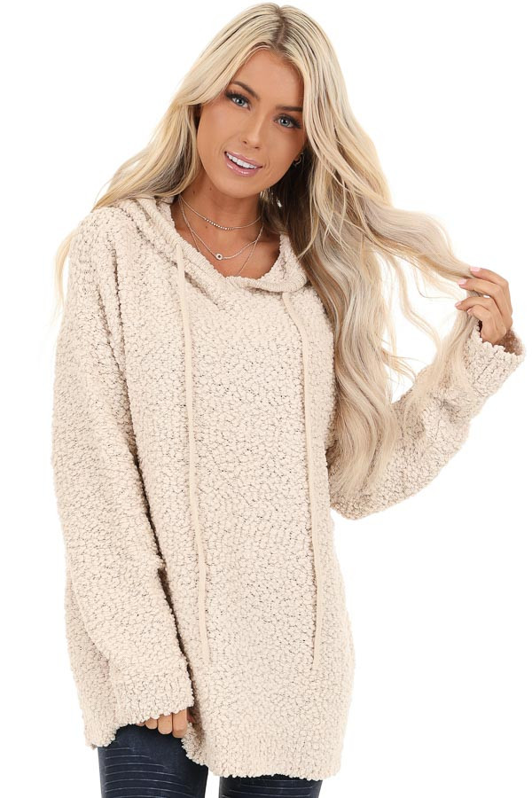 Taupe Popcorn Pullover Hoodie Sweater with Drawstrings front close up