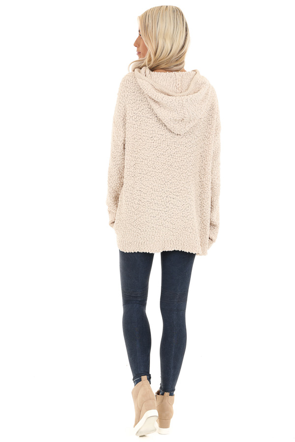 Taupe Popcorn Pullover Hoodie Sweater with Drawstrings back full body