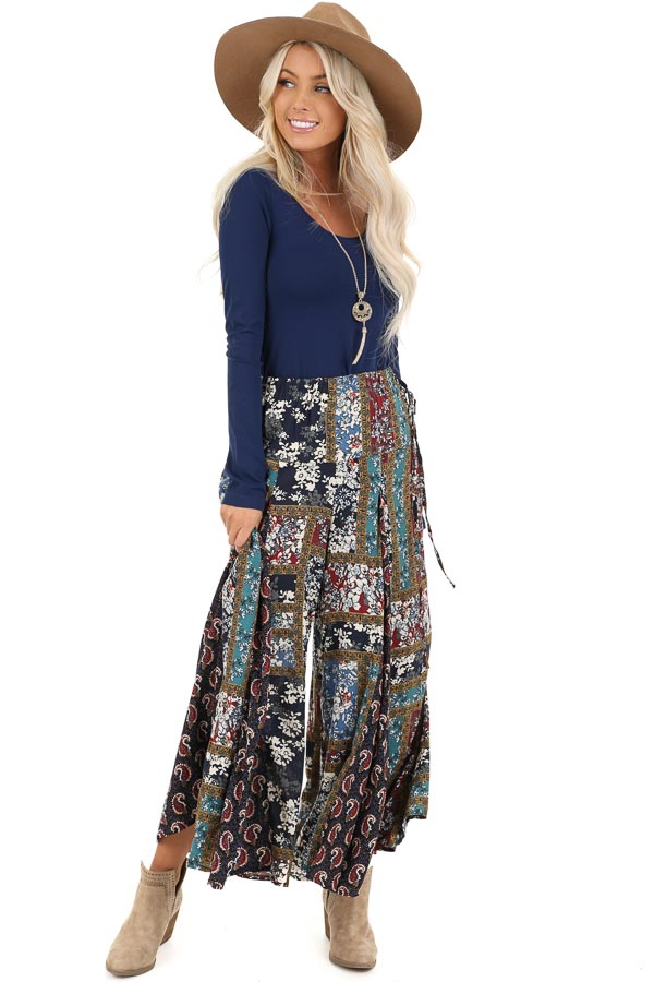 Navy Patchwork Wide Leg Pants with Pockets and Side Tie front full body