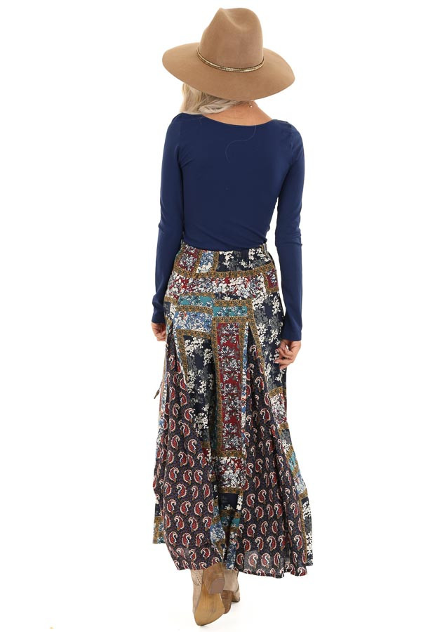 Navy Patchwork Wide Leg Pants with Pockets and Side Tie back full body