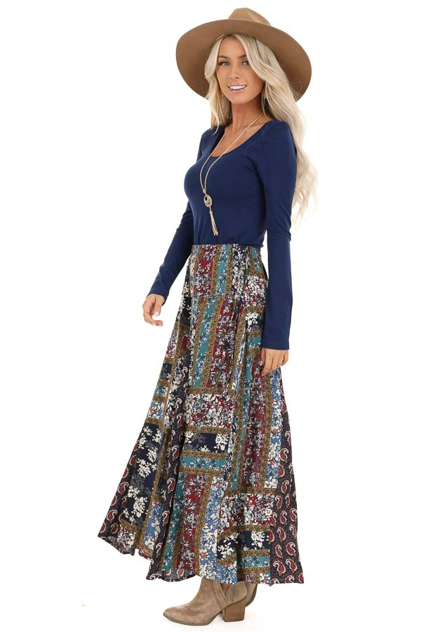 Navy Patchwork Wide Leg Pants with Pockets and Side Tie side full body