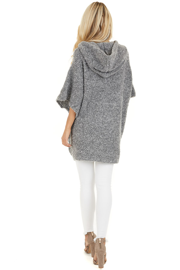 Charcoal Knit Poncho with Front Pocket Details back full body