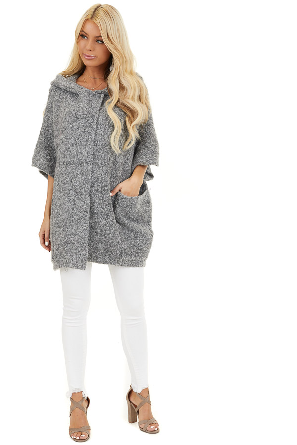 Charcoal Knit Poncho with Front Pocket Details front full body