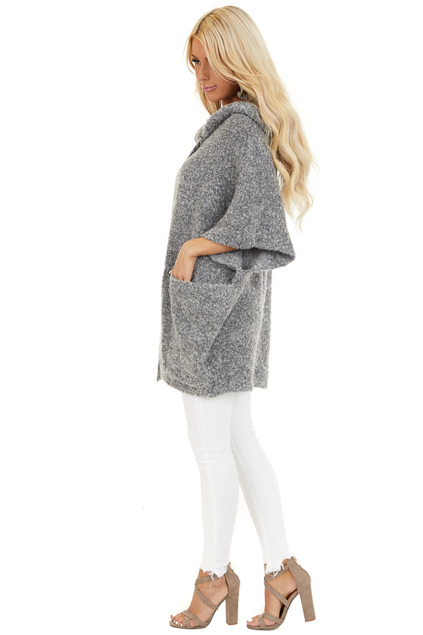 Charcoal Knit Poncho with Front Pocket Details side full body