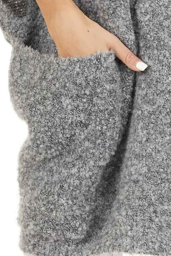 Charcoal Knit Poncho with Front Pocket Details detail