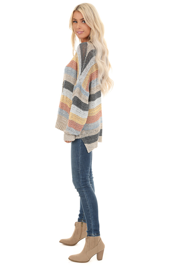 Multicolor Striped Oversized Long Sleeve Knit Sweater side full body
