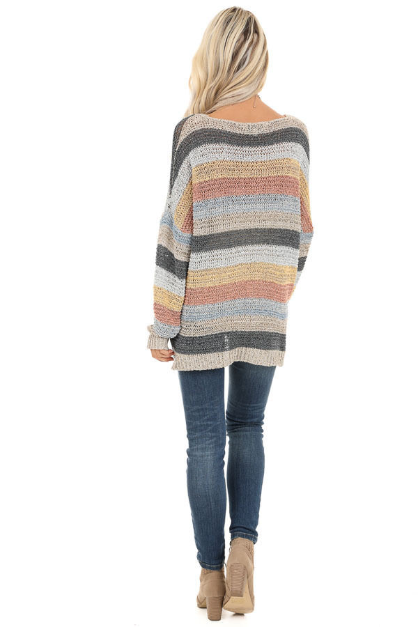 Multicolor Striped Oversized Long Sleeve Knit Sweater back full body