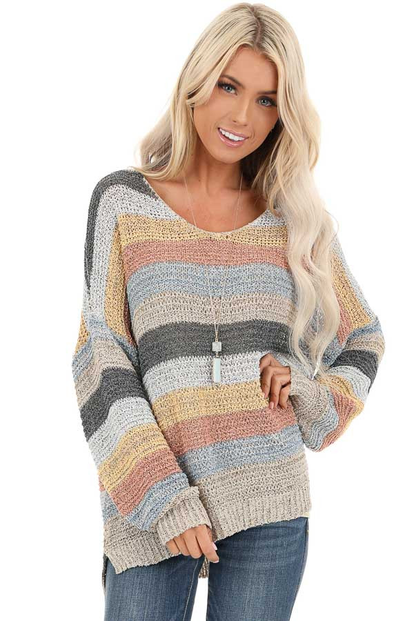 Multicolor Striped Oversized Long Sleeve Knit Sweater front close up