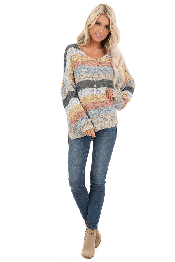 Multicolor Striped Oversized Long Sleeve Knit Sweater front full body