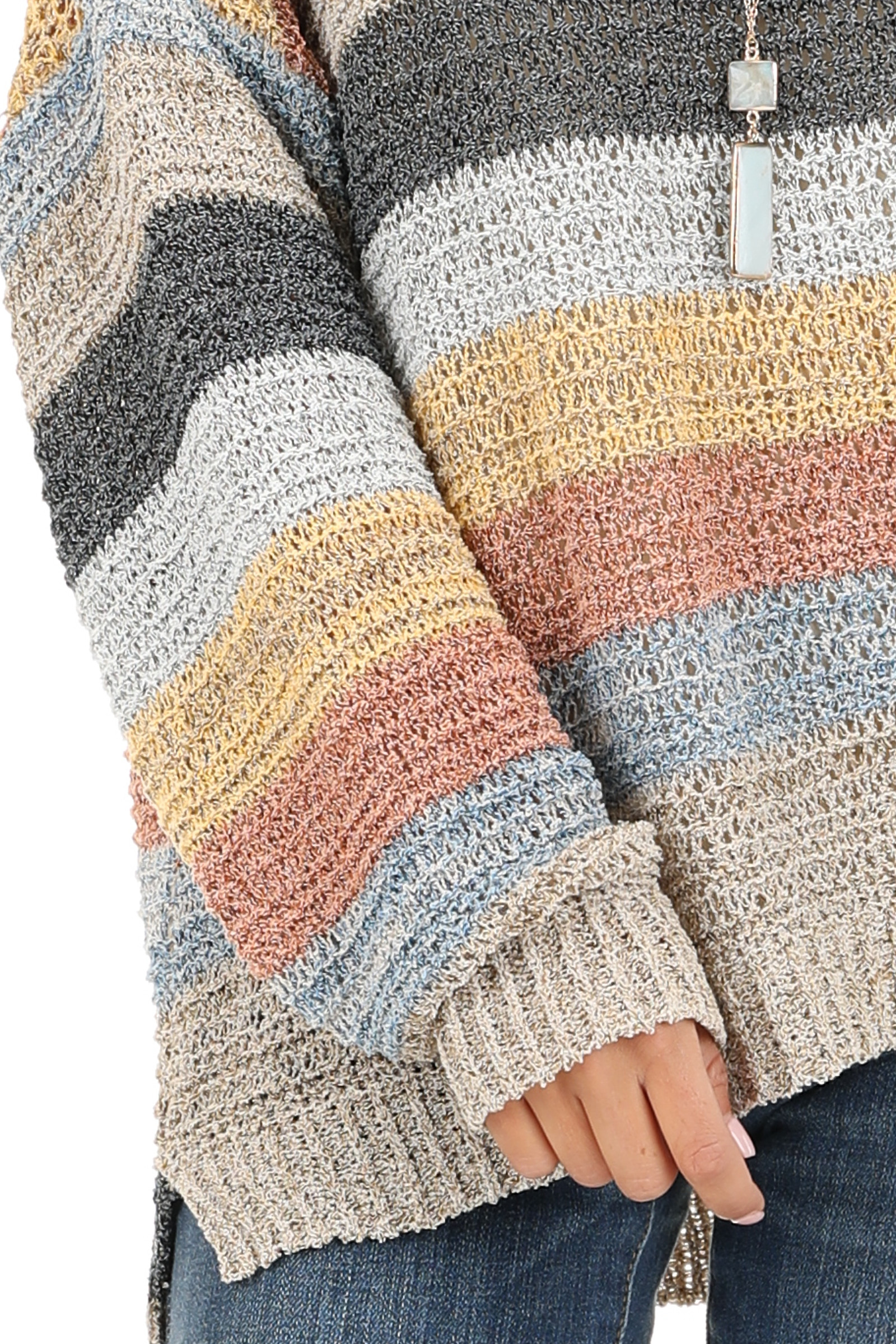 Multicolor Striped Oversized Long Sleeve Knit Sweater detail