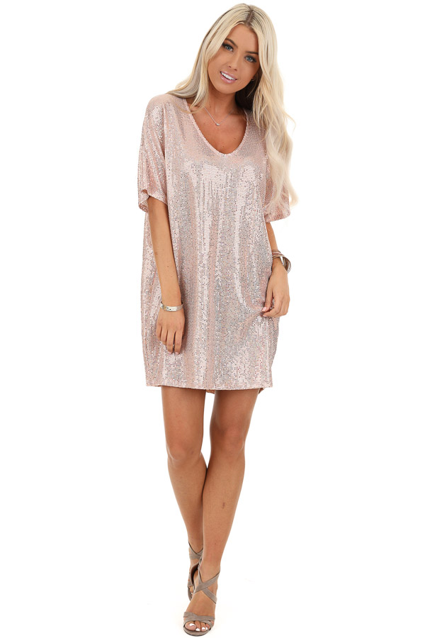 Pink Metallic Sequin Mini Dress with V Neckline front full body
