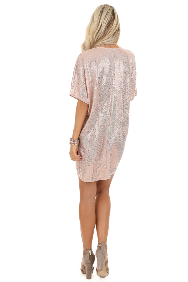 Pink Metallic Sequin Mini Dress with V Neckline back full body