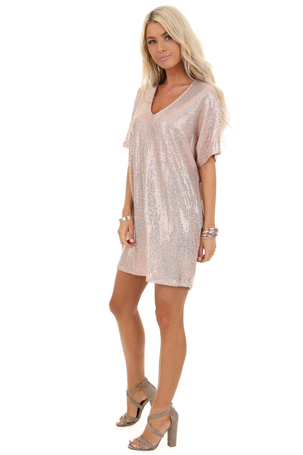 Pink Metallic Sequin Mini Dress with V Neckline side full body