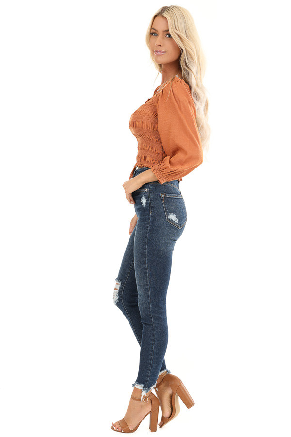 Rust Cropped 3/4 Sleeve Top with Smocked and Cinched Bodice side full body