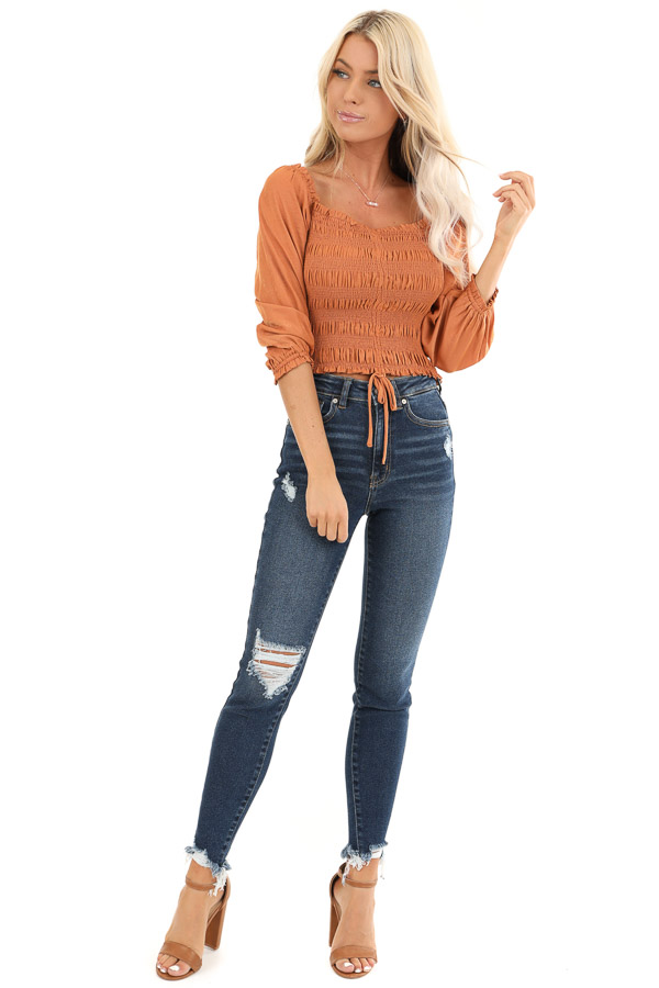 Rust Cropped 3/4 Sleeve Top with Smocked and Cinched Bodice front full body