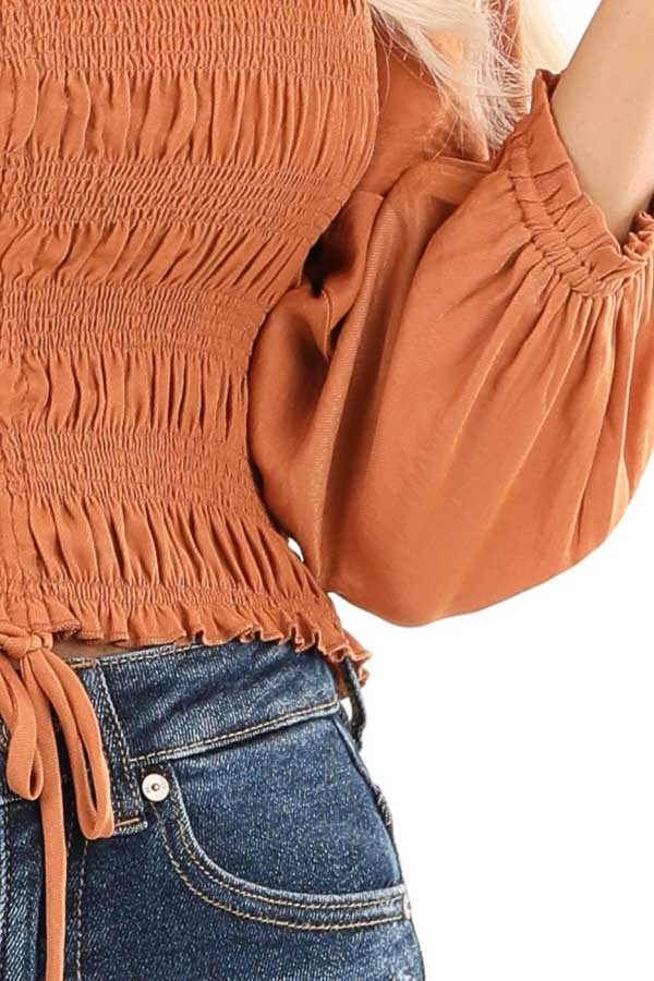 Rust Cropped 3/4 Sleeve Top with Smocked and Cinched Bodice detail
