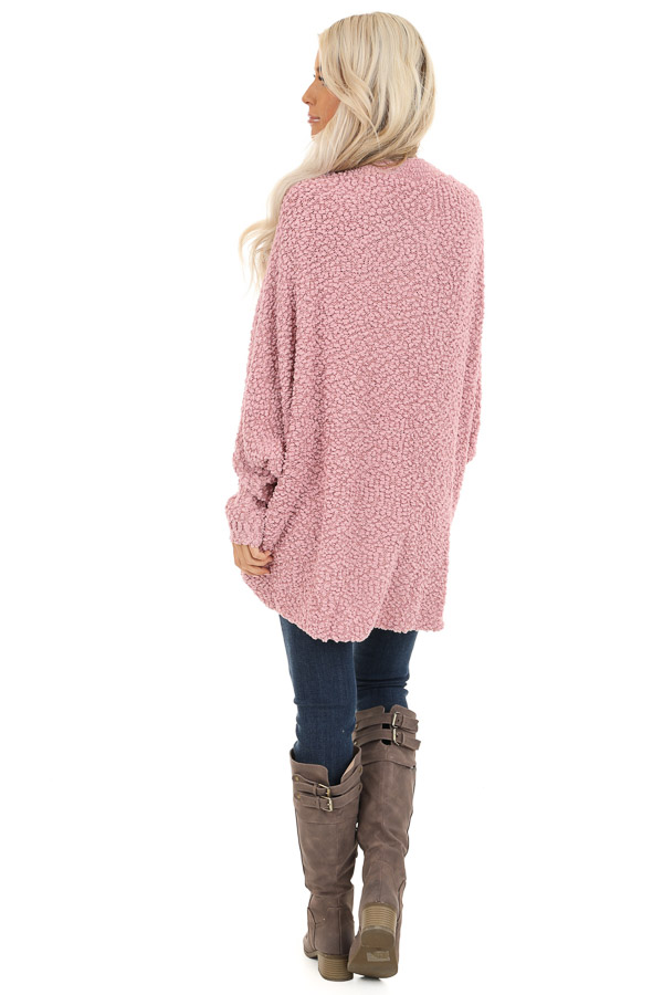 Dusty Pink Long Sleeve Cardigan with Front Pockets back full body