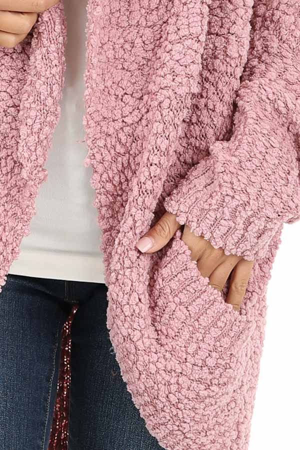 Dusty Pink Long Sleeve Cardigan with Front Pockets detail