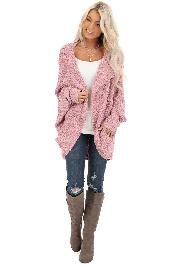 Dusty Pink Long Sleeve Cardigan with Front Pockets front full body