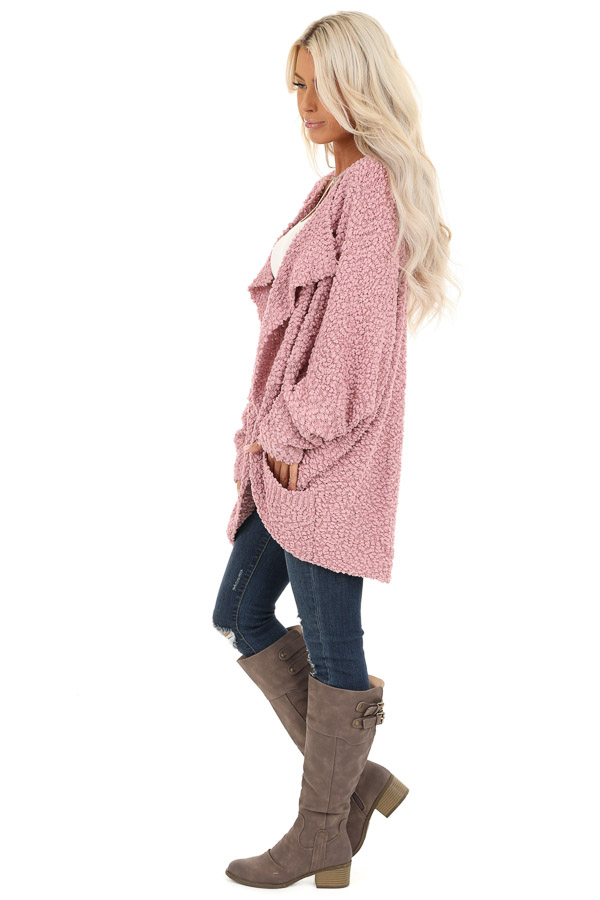 Dusty Pink Long Sleeve Cardigan with Front Pockets side full body