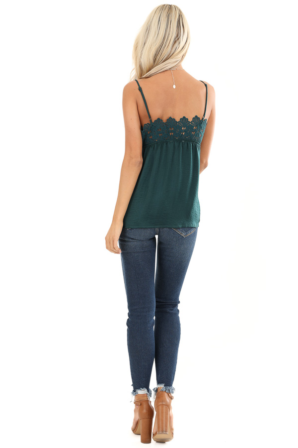 Hunter Green Silky V Neck Tank Top with Floral Lace Detail back full body