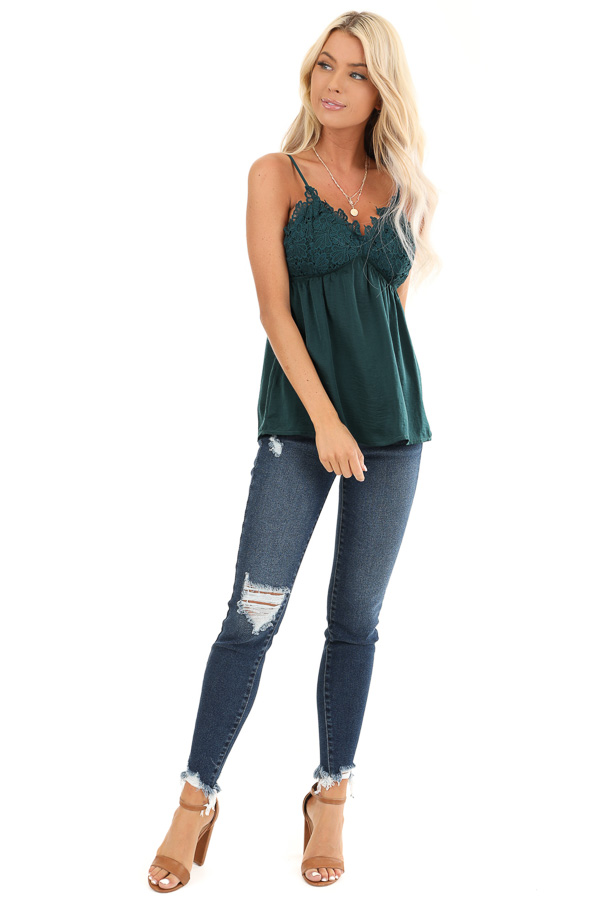 Hunter Green Silky V Neck Tank Top with Floral Lace Detail front full body