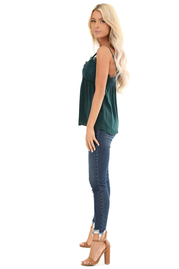 Hunter Green Silky V Neck Tank Top with Floral Lace Detail side full body