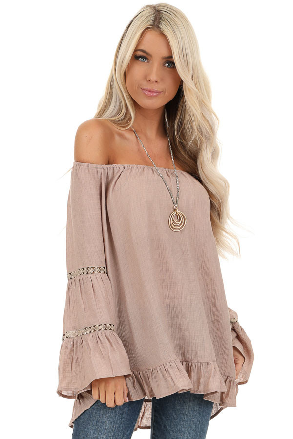 Taupe Off the Shoulder Top with Long Bell Sleeves front close up
