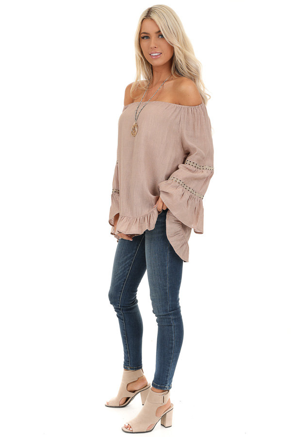 Taupe Off the Shoulder Top with Long Bell Sleeves side full body