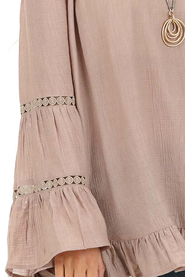 Taupe Off the Shoulder Top with Long Bell Sleeves detail
