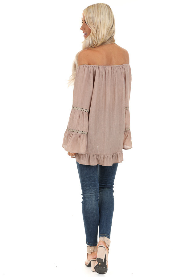 Taupe Off the Shoulder Top with Long Bell Sleeves back full body