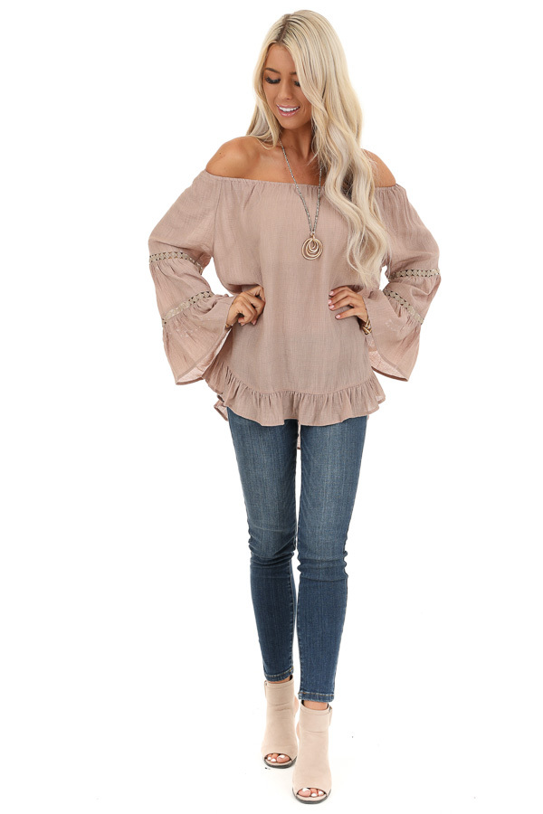Taupe Off the Shoulder Top with Long Bell Sleeves front full body