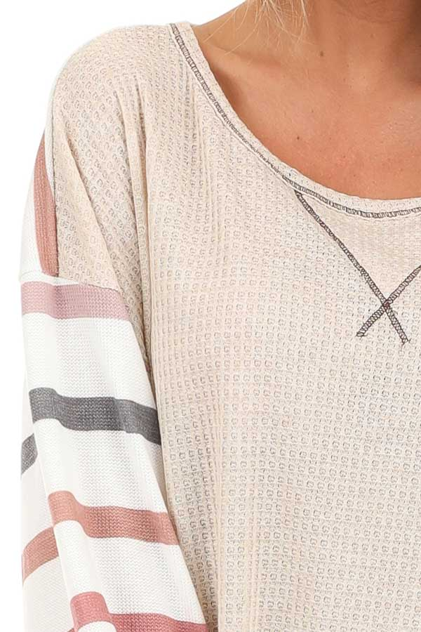 Oatmeal Waffle Knit Top with Long Striped Bubble Sleeves detail