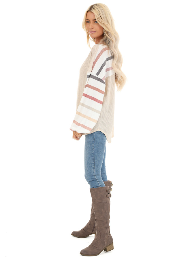 Oatmeal Waffle Knit Top with Long Striped Bubble Sleeves side full body